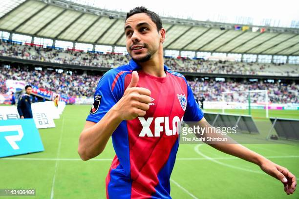 Diego Oliveira of FC Tokyo celebrates his side's 3-1 victory in the J.League J1 match between FC Tokyo and Kashima Antlers at Ajinomoto Stadium on...