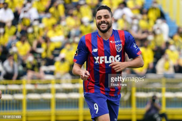 Diego Oliveira of FC Tokyo celebrates scoring his side's first goal during the J.League Meiji Yasuda J1 match between Kashiwa Reysol and FC Tokyo at...