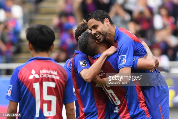 Diego Oliveira of FC Tokyo celebrates the second goal during the J.League J1 match between FC Tokyo and Matsumoto Yamaga at Ajinomoto Stadium on...