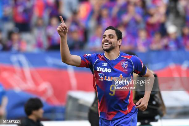 Diego Oliveira of FC Tokyo celebrates the third goal during the JLeague J1 match between FC Tokyo and Nagoya Grampus at Ajinomoto Stadium on April 28...
