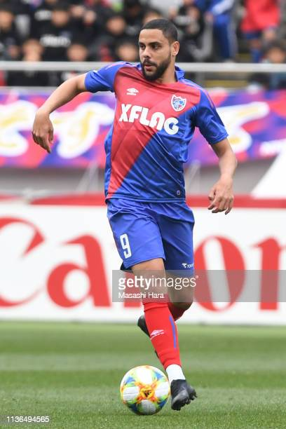 Diego Oliveira of FC Tokyo in action during the J.League J1 match between FC Tokyo and Nagoya Grampus at Ajinomoto Stadium on March 17, 2019 in...