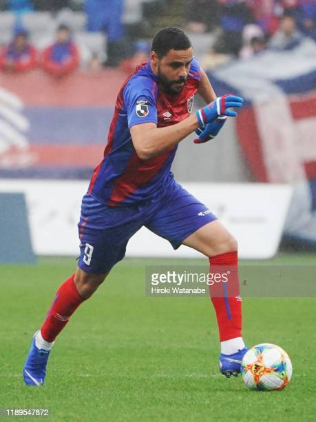 Diego Oliveira of FC Tokyo in action during the J.League J1 match between FC Tokyo and Shonan Bellmare at Ajinomoto Stadium on November 23, 2019 in...