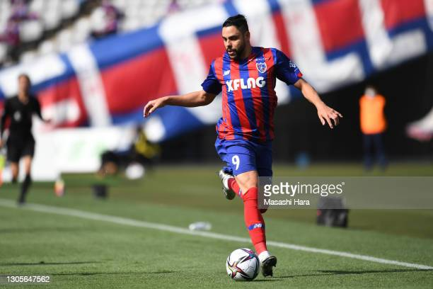 Diego Oliveira of FC Tokyo in action during the J.League Meiji Yasuda J1 match between FC Tokyo and Cerezo Osaka at Ajinomoto Stadium on March 06,...