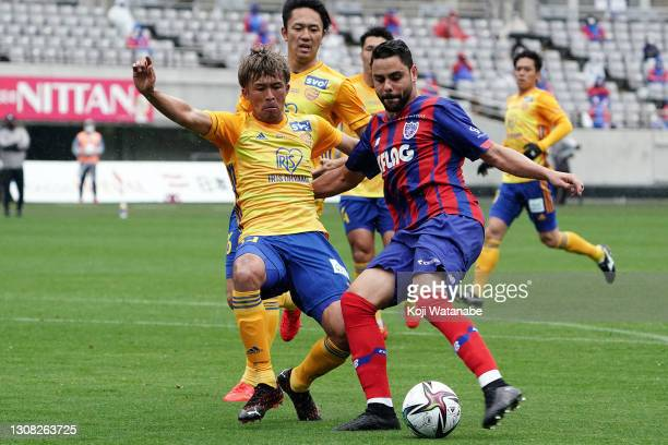 Diego Oliveira of FC Tokyo in action during the J.League Meiji Yasuda J1 match between FC Tokyoand Vegalta Sendai at Ajinomoto Stadium on March 21,...
