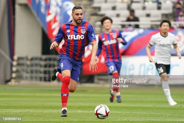 Diego Oliveira of FC Tokyo in action during the J.League MYBC Levain Cup Group B match between FC Tokyo and Vissel Kobe at Ajinomoto Stadium on March...