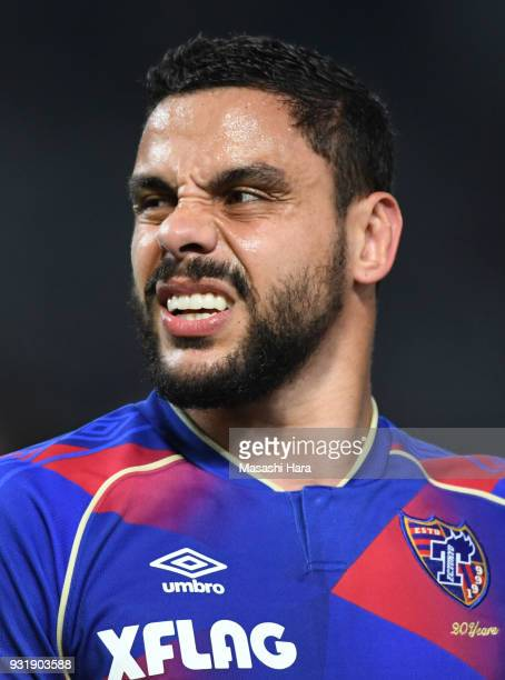 Diego Oliveira of FC Tokyo looks on during the JLeague YBC Levain Cup Group A match between FC Tokyo and Albirex Niigata at Ajinomoto Stadium on...