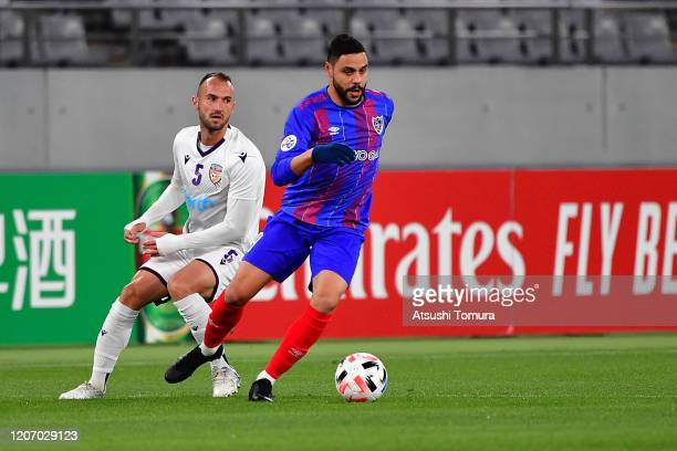 Diego Oliveira of FC Tokyo runs with the ball during the AFC Champions League Group F match between FC Tokyo and Perth Glory at Ajinomoto Stadium on...