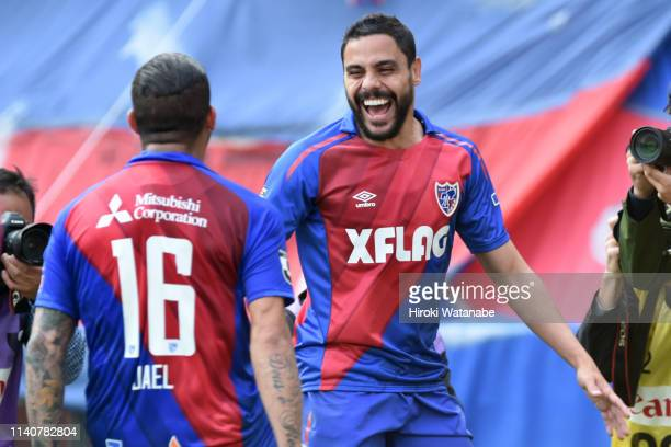 Diego Oliveira of FC Yokyo celebrates scoring his team's second goal during the J.League J1 match between FC Tokyo and Shimizu S-Pulse at Ajinomoto...