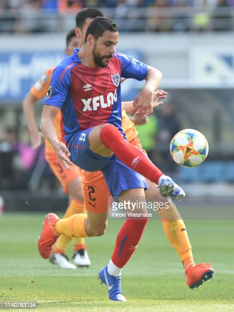 Diego Oliveira of FC Yokyo in action during the J.League J1 match between FC Tokyo and Shimizu S-Pulse at Ajinomoto Stadium on April 06, 2019 in...