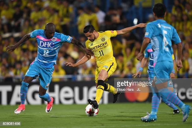 Diego Oliveira of Kashiwa Reysol and Victor Ibarbo of Sagan Tosu compete for the ball during the JLeague J1 match between Kashiwa Reysol and Sagan...