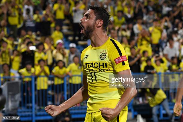 Diego Oliveira of Kashiwa Reysol celebrates scoring his side's second goal during the JLeague J1 match between Kashiwa Reysol and Consadole Sapporo...