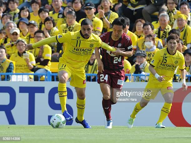 Diego Oliveira of Kashiwa Reysol in action during the JLeague match between Kashiwa Reysol and Vissel Kobe at the Hitachi Kashiwa soccer stadium on...