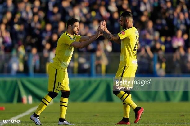 Diego Oliveira of Kashiwa Reysol is brouoght in for Ramon Lopes during the JLeague J1 match between Kashiwa Reysol and Sanfrecce Hiroshima at Hitachi...