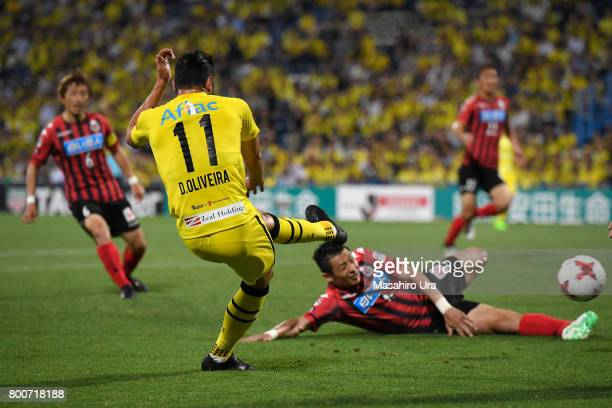 Diego Oliveira of Kashiwa Reysol scores his side's second goal during the J.League J1 match between Kashiwa Reysol and Consadole Sapporo at Hitachi...
