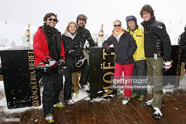Diego Osorio Maria Chavarri Javier Soto Blanca Suelves Joanes Osorio and Luis Medina attend Moet Lounge In Baqueira ski resort on December 8 2012 in...