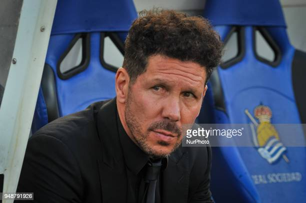 Diego Pablo Simeone head coach of Atletico Madrid during the Spanish league football match between Real Sociedad and Atletico Madrid at the Anoeta...