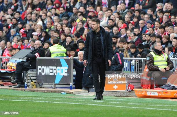 Diego Pablo Simeone manager of Atletico de Madrid during The La Liga match between Atletico Madrid v Valencia CF at Vicente Calderon on March 05 2017...