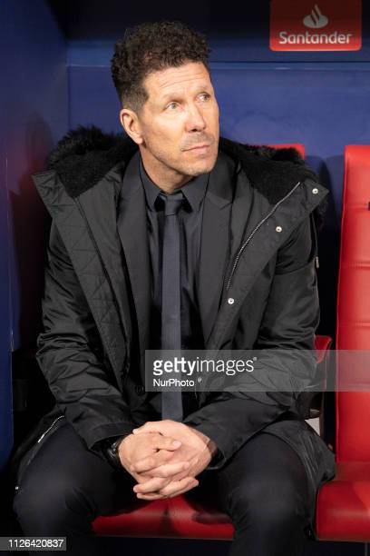 Diego Pablo Simeone Manager of Atletico de Madrid during the UEFA Champions League Round of 16 First Leg match between Club Atletico de Madrid and...