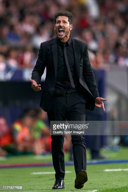 Diego Pablo Simeone Manager of Atletico de Madrid in action during the La Liga match between Club Atletico de Madrid and SD Eibar SAD at Wanda...