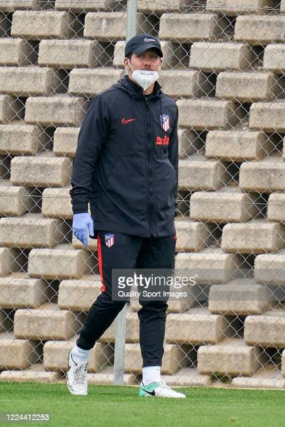Diego Pablo Simeone Manager of Atletico de Madrid looks on during a training session at Estadio Cerro del Espino on May 12 2020 in Madrid Spain