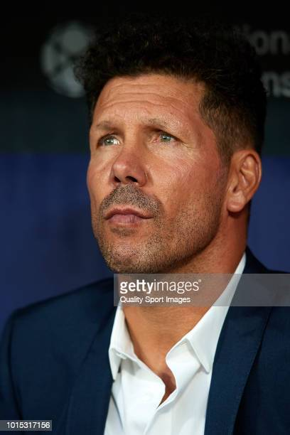 Diego Pablo Simeone Manager of Atletico de Madrid looks on prior to the PreSeason Friendly match between Atletico de Madrid and FC Internazionale at...