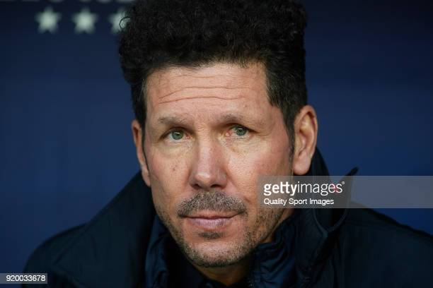 Diego Pablo Simeone Manager of Atletico de Madrid looks on prior to the La Liga match between Atletico Madrid and Athletic Club at Wanda...