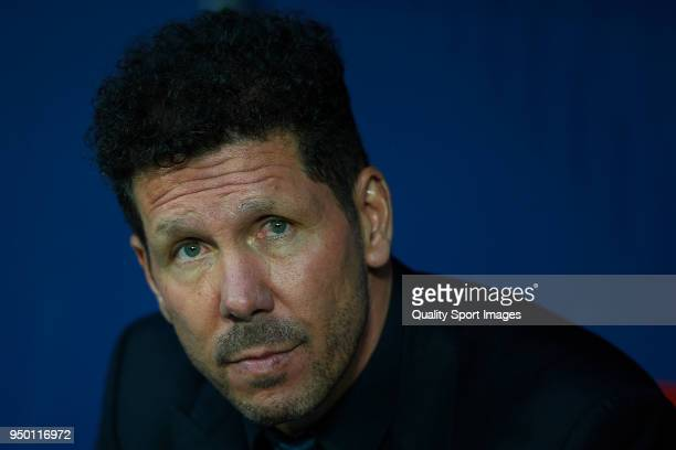 Diego Pablo Simeone Manager of Atletico de Madrid looks on prior to the La Liga match between Atletico Madrid and Real Betis at Wanda Metropolitano...