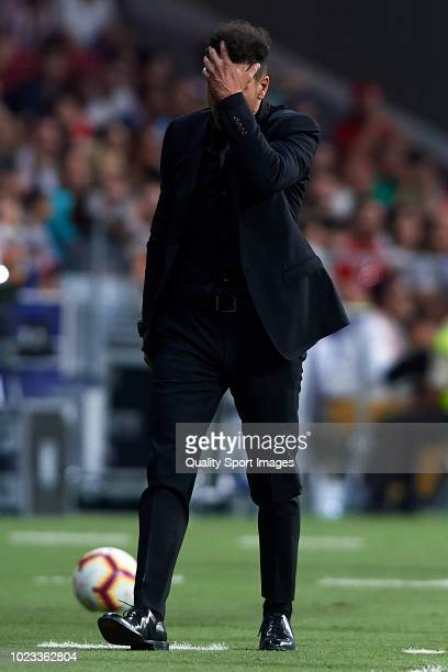 Diego Pablo Simeone Manager of Atletico de Madrid reacts during the La Liga match between Club Atletico de Madrid and Rayo Vallecano de Madrid at...