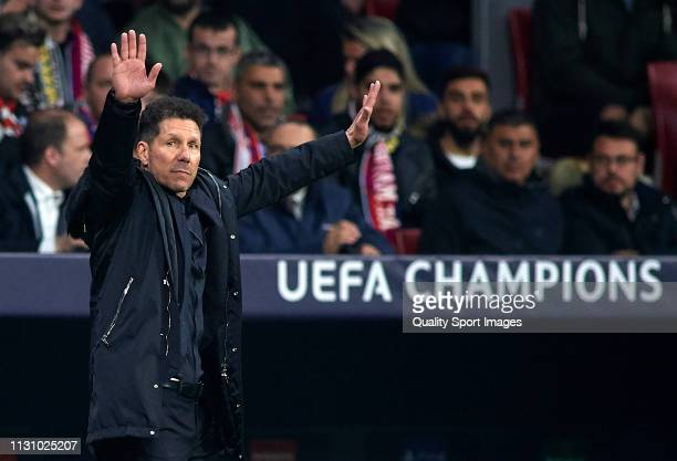 Diego Pablo Simeone Manager of Atletico de Madrid reacts during the UEFA Champions League Round of 16 First Leg match between Club Atletico de Madrid...