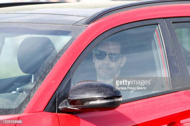 Diego Pablo Simeone of Atletico de Madrid arrives at Ciudad Deportiva Atletico de Madrid where medical tests are being conducted as the team prepares...
