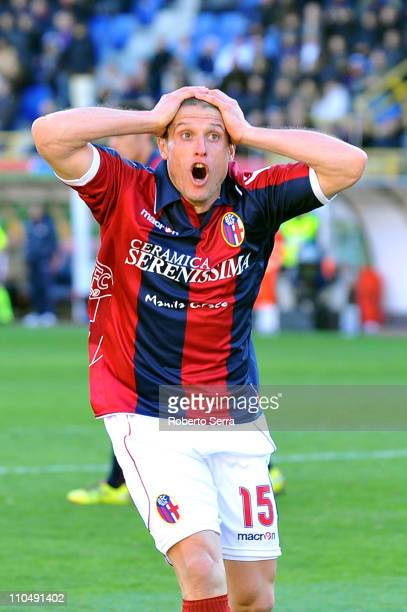 Diego Perez of Bologna reacts during the Serie A match between Bologna FC and Genoa CFC at Stadio Renato Dall'Ara on March 20 2011 in Bologna Italy