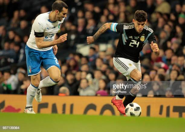 Diego Perotti during the International friendly match between Italy and Argentina at Etihad Stadium on March 23 2018 in Manchester England