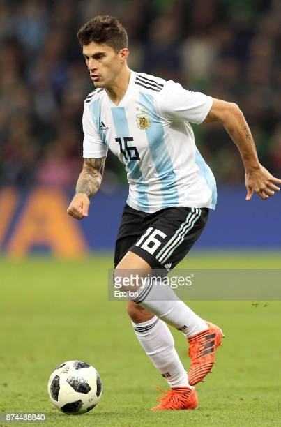 Diego Perotti of Argentina drives the ball during an international friendly match between Argentina and Nigeria at Krasnodar Stadium on November 14...