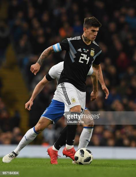 Diego Perotti of Argentina in action during the International Friendly between Argentina and Italy at Etihad Stadium on March 23 2018 in Manchester...