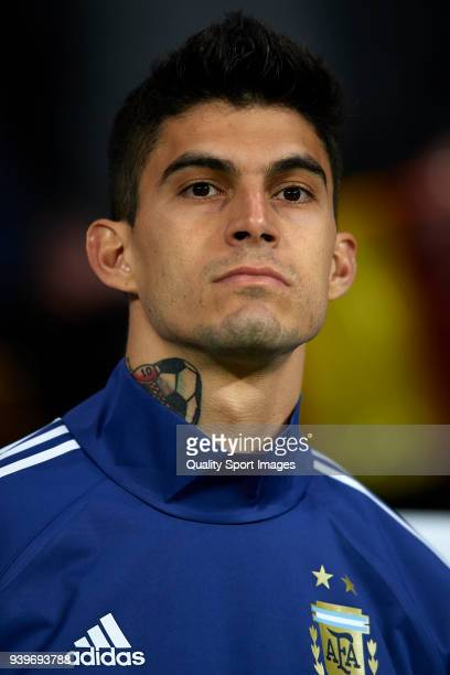 Diego Perotti of Argentina looks on prior to the International Friendly match between Spain and Argentina at Wanda Metropolitano Stadium on March 27...