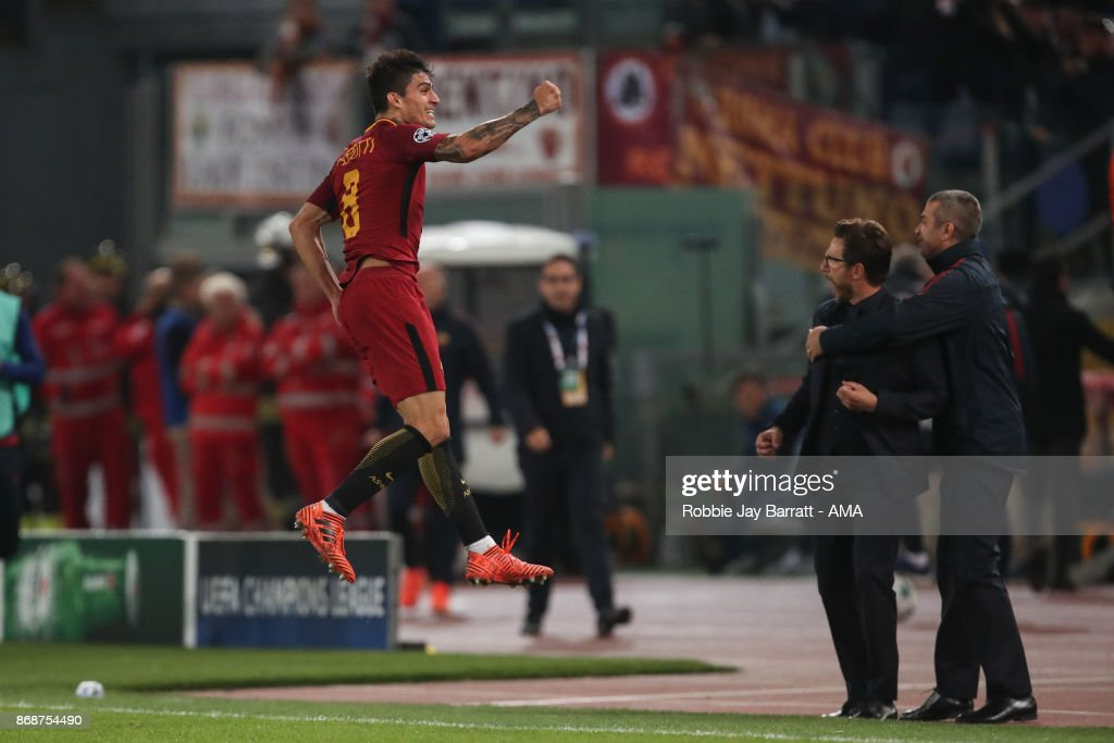 Diego Perotti of AS Roma celebrates after scoring a goal to make it 3-0 during the UEFA Champions League group C match between AS Roma and Chelsea FC at Stadio Olimpico on October 31, 2017 in Rome, Italy.