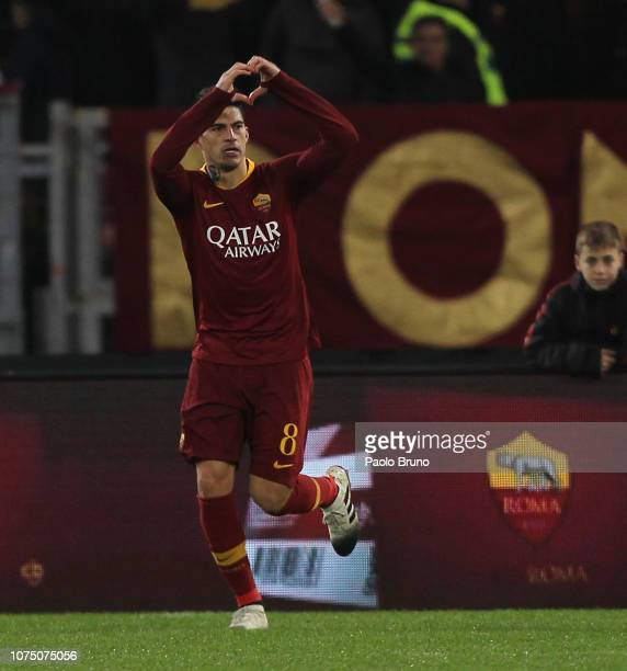 Diego Perotti of AS Roma celebrates after scoring the opening goal from penalty spot during the Serie A match between AS Roma and US Sassuolo at...