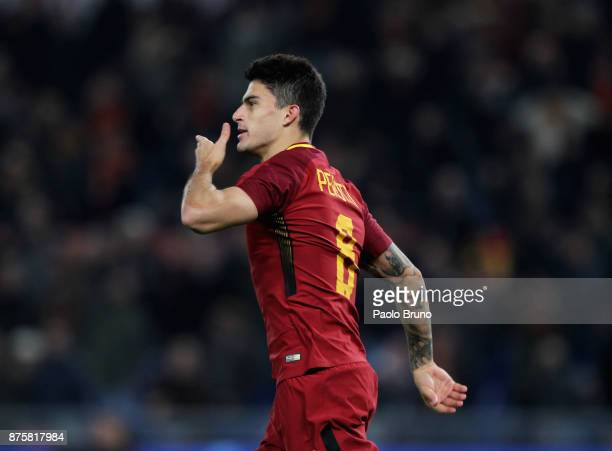 Diego Perotti of AS Roma celebrates after scoring the opening goal from penalty spot during the Serie A match between AS Roma and SS Lazio at Stadio...