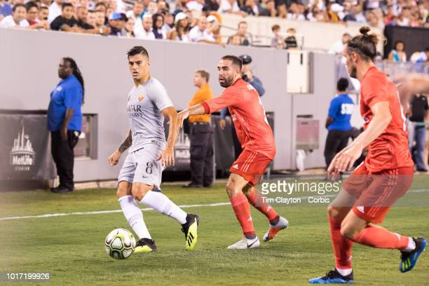Diego Perotti of AS Roma defended by Dani Carvajal of Real Madrid and Gareth Bale of Real Madrid during the Real Madrid vs AS Roma International...