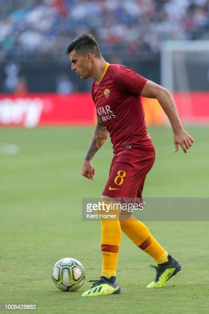 Diego Perotti of AS Roma dribbles the ball against Tottenham Hotspurs during the second half of the International Champions Cup 2018 match at SDCCU...