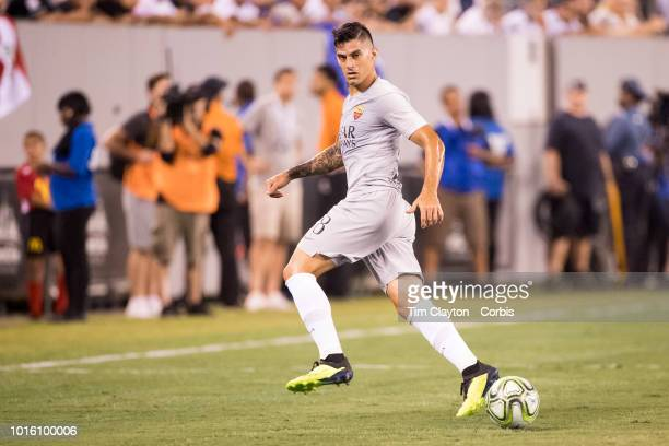 Diego Perotti of AS Roma in action during the Real Madrid vs AS Roma International Champions Cup match at MetLife Stadium on August 7 2018 in...