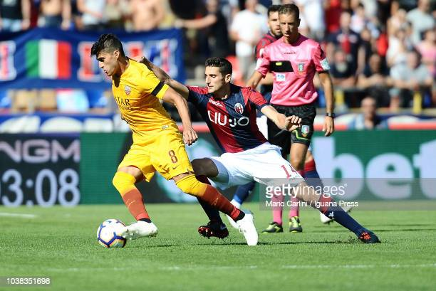 Diego Perotti of AS Roma in action during the serie A match between Bologna FC and AS Roma at Stadio Renato Dall'Ara on September 23 2018 in Bologna...