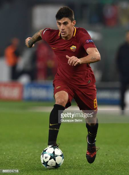 Diego Perotti of AS Roma in action during the UEFA Champions League group C match between AS Roma and Qarabag FK at Stadio Olimpico on December 5...