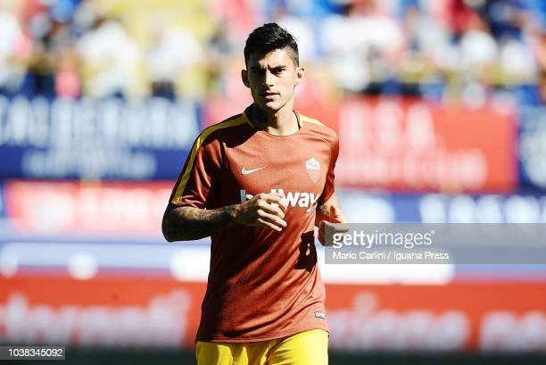 Diego Perotti of AS Roma looks on during the warm up prior the beginning of the serie A match between Bologna FC and AS Roma at Stadio Renato...