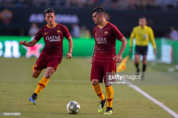 Diego Perotti of AS Roma looks to pass the ball against Tottenham Hotspurs during the second half of the International Champions Cup 2018 match at...