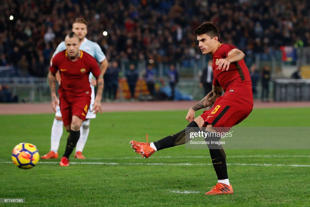 Diego Perotti of AS Roma scores his goal 1-0 during the Italian Serie A match between AS Roma v Lazio at the Stadio Olimpico on November 18, 2017 in Rome Italy