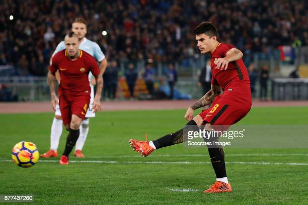 Diego Perotti of AS Roma scores his goal 10 during the Italian Serie A match between AS Roma v Lazio at the Stadio Olimpico on November 18 2017 in...