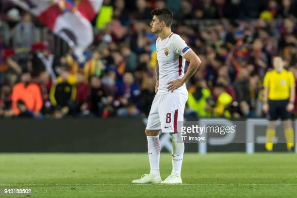 Diego Perotti of Rom looks dejected during the UEFA Champions League QuarterFinal first leg match between FC Barcelona and AS Roma at Camp Nou on...
