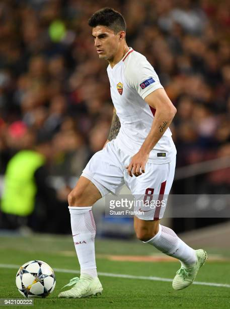 Diego Perotti of Roma in action during the quarter final first leg UEFA Champions League match between FC Barcelona and AS Roma at Camp Nou on April...