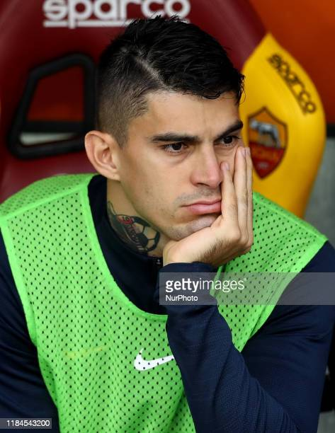 Diego Perotti of Roma on the bench during the Serie A match AS Roma v Brescia Fc at the Olimpico Stadium in Rome Italy on November 24 2019